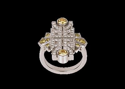 Yellow Diamond Art Deco Ring