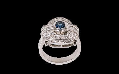Sapphire Diamond Art Deco Ring