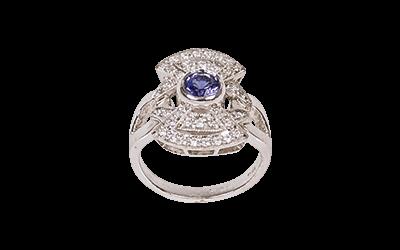 Tanzanite Diamond Art Deco Ring