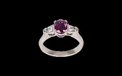 Ruby & Pear Shaped Diamond Ring