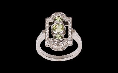 Green Tsavorite Art-Deco Ring