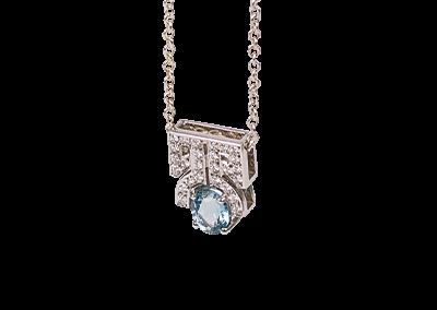 Aqua Marine Diamond Pendant