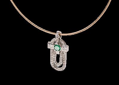 Emerald Diamond Art-Deco Pendant